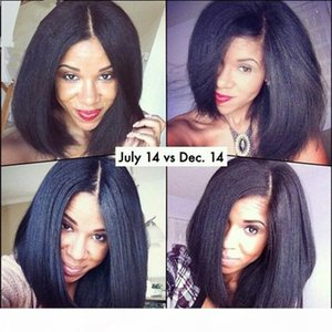Brazilian Yaki Straight Bob Wig Full Lace Human Hair Wigs 130 Density Pre Plucked Bleached Knots With Baby Hair For Black Women