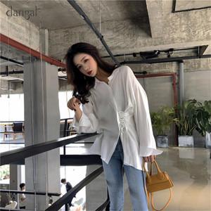 Dangal femmes Chemisier Mode coton coréenne Chemisier Chemise femme Tops T-shirt blanc en vrac Femme Casual Blue Side Bind