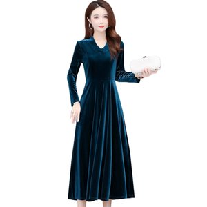 2021 New Fall winter Women's Golden Velvet New V-neck Long Sleeve Office Dress Plus Size 5xl 6xl Elegant Ladies Party Dresses S2dm