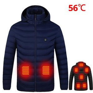Winter USB Infrared Heating Jacket Men Motorcycle Jacket Electric Cotton Outdoor Coat For Riding Hiking Fishing S-4XL