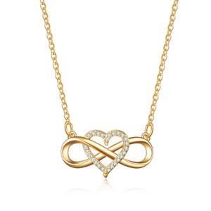Collier de mode Creative Tie Love Heart Micro Inlay Série Amour infini Zircon plaqué or rose collier pendentif en cuivre pour les femmes