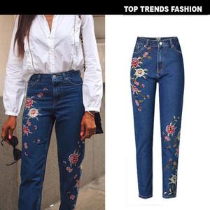 Women Vintage Fine 3D Floral High Waisted Blue Denim Jeans Fashion Casual Pencil Pants plus size 34-44 Women clothing