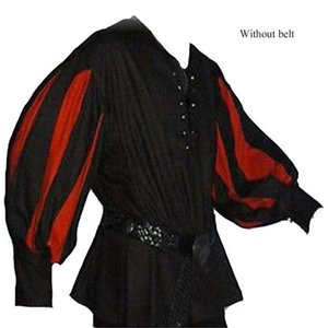 Men's Medieval Knight Cosplay Costume Vintage Halloween Party Stitching Design Men's Performance Costume Loose Shirt