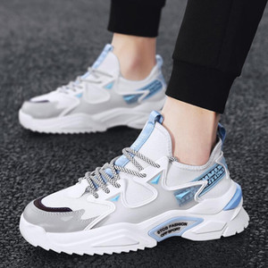 Comfort Casual Shoes Men Breathable Sneakers White Mesh Mens Sports Running Shoes Lace-up Non-slip Male Outdoor High Quality Male Footwear