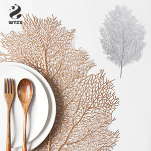 Creative Coral Leaf Plastic Placemat Milk Coffee Cup Mats Pads Gold Silver Heat-insulated Non-slip Table Mat Home Decoration