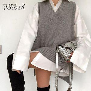 FSDA V Neck 2020 Women Split Vest Sweater Dress Sleeveless Gray Autumn Winter Loose Casual Knitted Jumper Oversized Pullover