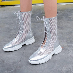 mesh boots summer women mid calf boots Genuine Leather hollow out Flat Rome sandals Cool breathable women's shoes