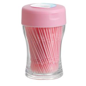 200 adet Sakız Interdental Floss Plastik Çift Başlı Fırça Sopa Kürdan Diş Oral Temizleyici Beyaz 6.4 cm Tek Kullanımlık Kürdan V4