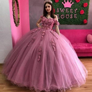 Pink vestidos de 15 Quinceanera Dresses Puffy Lace Sweet 16 Party Dress Crost Back Ball Gown Prom Gowns