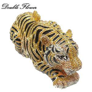 Double Flower Vintage Golden Tiger 3D Form Frauen Kristall Tiere Minaudiere Bag Clutch Geldbörse Abend Hochzeit Cocktail Handtaschen C0121
