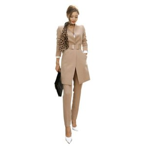 2020 Business Ladies women two piece outfits Formal style Elegant Skinny Long Blazer Pants Two Pieces Sets 688