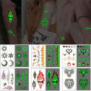 Luminous Temporary Tattoo Totem Sticker Wolf Skull Moon Cloud Flame Design Bracelet for Cool Woman Man Body Art Makeup Transfer Tattoo Paper
