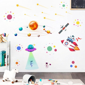NEW 2 PCS Cartoon Solar System UFO Astronaut Wall Sticker