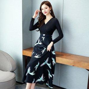 manga principios de falda larga Zhang Xiu Xiu Qun Qun Zhang estilo de principios de otoño cintura espectáculos vestido de otoño fino del temperamento nueva moda vestido largo
