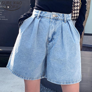 2020 Summer Shorts Women Vintage High Waist Blue Wide Leg Jeans Shorts Ladies Plus Size Womens Denim Shorts Short Femme 9001