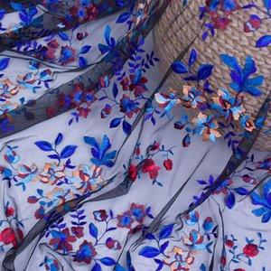 Neue High-End-DIY Net-Garn-Stickerei-Spitzenstoffe kleine gebrochene Blumenkleid Net-Tuch bestickte Stoffe1