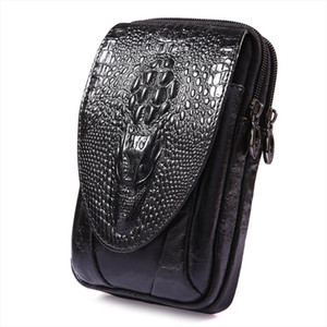 New Men Genuine Leather Real Crocodile Grain Cell Mobile Phone Cover Case Pocket Hip Belt Bum Fanny Pack Waist Bag Father Gift