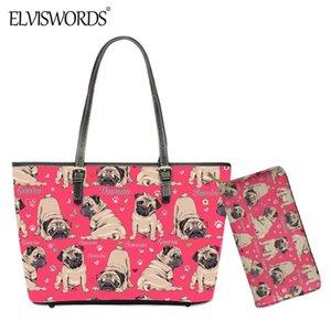 ELVISWORDS lindos del perro del barro amasado de impresión de las mujeres de gran capacidad de tela y bolso de la carpeta del hombro Diseño Boston Terrier para Señora