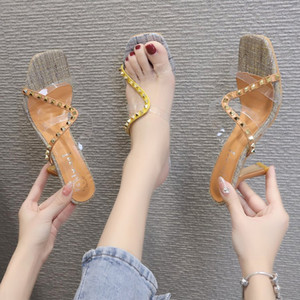 2021 Spring New Rivets Color Block TPU Sequined Womens Transparent High Heel Slippers Square Toe Stiletto Heel Metal Sandals