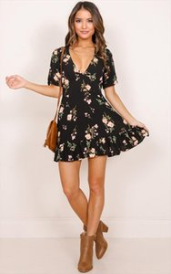 New Fashion Womens Boho Floral Chiffon Summer Party Evening Beach V Neck Short Mini Dress Drop Shipping