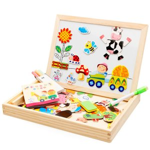 Cartoon Kids Educational Toys Wooden Puzzles For Children Forest Park Multifunctional Magnetic Puzzles Drawing Board