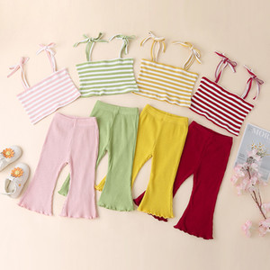 Kids Clothes Girls Pit Stripe Outfits Infant Striped Sling Tops + Flared Pants 2pcs sets Fashion 2021 Summer Baby Clothing Sets M3272