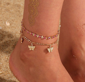 Rhinestone Crystal Ankle Bracelets For Women Sandals Butterfly Anklet Boho Beach Foot Iced Out Chains Anklets Fema wmtteX dayupshop