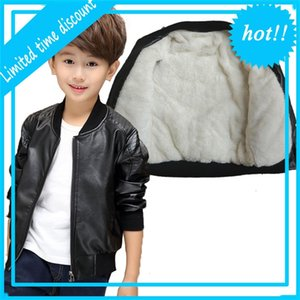 Gcwhff crianças pu jackets meninos inverno gordura de couro quente fio emprestado herf jovem jas sólido ocasional overwear 3 t-15 t