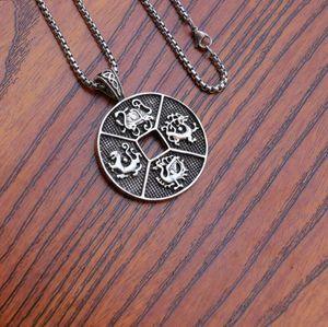Stainless Steel Chain Men Necklaces Double Sides Dragon Phoenix Tortoise Kirin Pattern Disc Pendant Necklace Silver Punk Jewelry