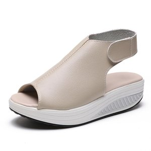 Summer Thick Bottom High Flat Platform Sandals Genuine Leather Comfortable Casual Woman Wedges Sandals Women Beach Summer Shoes