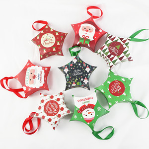 5 Pack Paper Box Star Shape Candy Packaging Supplies Christmas Printed Goody Gift Paper Boxes for Kids Favors Navidad Gift 12cm