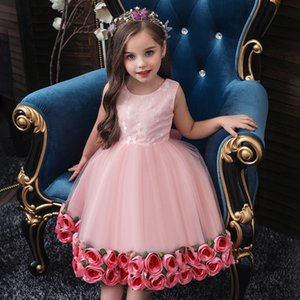 Tutu Flower Cake Up Kids Princess for Girls Elegant Birthday Party Dress Baby Girl Christmas Clothes