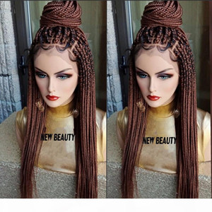 #30 brown Box Braids Wig with baby hair full braid wig lace front For Women Africa women style braiding synthetic hair wig