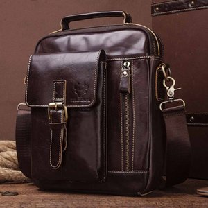 Men's Top Layer Leather One Shoulder Messenger Bag Fashion Retro Multifunctional Portable Briefcase High Quality Designers Bags