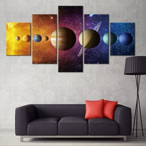 5 Panel Nine Planets Space Poster Canvas Painting Wall Art Pictures Home Décor Poster And Prints
