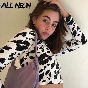 Allneon Y2K Fashion Automne Femmes Stand Collier Coup de vache T-shirts E-Girl Vintage Crop Tops 90s Streetwear Casual tee1