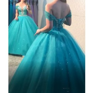 Glitter Turquoise Ball Gown Quinceanera Dresses with Removeable Skirt Tulle Crystal Beaded Off Shoulder Prom Gowns Sweet 16 Dresses
