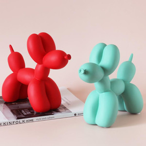 Nordic Creative Balloon Dog Resin Dog Figurine Matte Color Living Room Kids Bedroom Decoration Home Desktop Ornaments Modern New