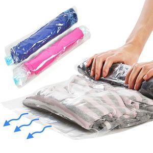Nova 1 PC Roupas Embalagem Para Sacos Bags Roupas Plásticas Rolamento De Vácuo De Armazenamento Sacos de Viagem Space Saver Hand Compression Bagagem Ghebk