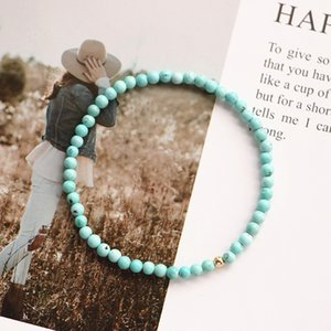 Lily Jewelry Turquoise Bracelet 925 Sterling Silver Gold color Stretched Bracelet Helps Negativity Dropshipping LJ201020