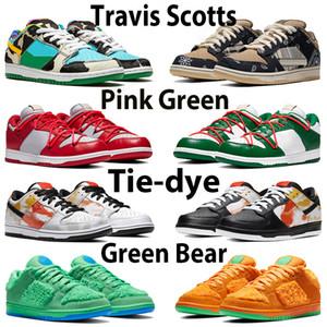 Travis Scotts Tıknaz Düşük Erkek Ayakkabı Panda Chicago Çam Yeşil Turuncu Sean Gölge Üniversitesi Kırmızı Altın Tie-Boya Erik Brezilya Basketbol Sneakers