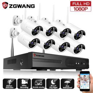 ZGWANG 2MP 8CH IP WIFI fotografica impermeabile Interni Esterni 1080P Wireless Home Record Office di sicurezza del CCTV di sorveglianza del sistema Kit