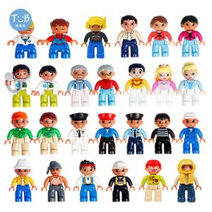 Compatible Duplo farm Action Figures big Building blocks with family police Education DIY Toys For Children Baby