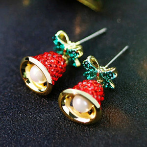 2020 Cute Christmas Jewelry Bow Bells Stud Earrings Christmas Crystal Earrings Gifts for Women Girls New Year Holiday Jewelry