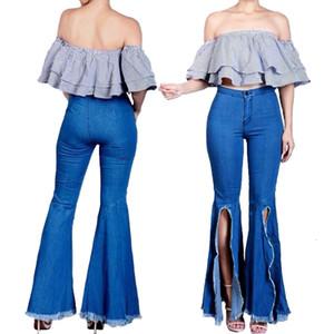 Viyuguo 2020 kadın Rahat Slim Fit Sıkı Denim Yüksek Bel Kot Moda Bölünmüş Tasarım Flare Pantolon Mavi Pantolon Kadınlar