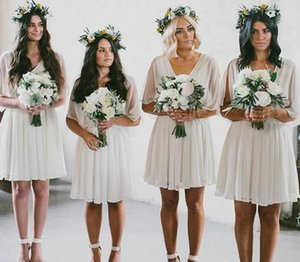 2021 Summer Beach Bridesmaid Dresses Short Flow Chiffon V Neck Boho Country Rustic Wedding Party Wear Plus Size Maid of Honor Gowns AL8669