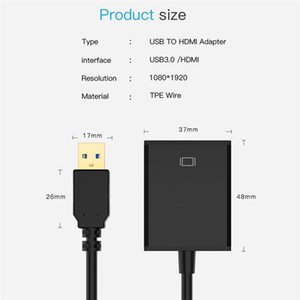 2021 1080P USB 3.0 To HDMI female Audio Video Adaptor Converter Cable For Windows 7 8 10 PC Graphic Adapter Display Laptop Game Player