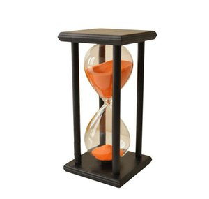 nocm-colors! 60min wooden sand sandglass hourglass timer clock decor unique gift type:60min black frame orange sand