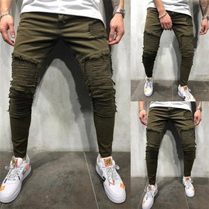 Solid Color Jeans Mens Designer Pleated Hole Casual Denim Pants Four Season Wear Army Green Trousers For Men
