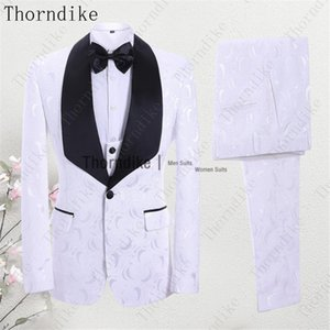 Thorndike White Rose Jacquard Terno Masculino Men's Wedding Dress Tuxedos New Men Suit For Dinner Prom Party (Jacket+Vest+Pants)